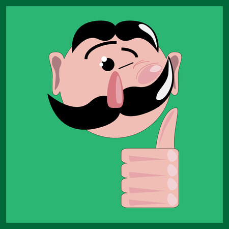 winking: Illustration of winking man with like on the green background