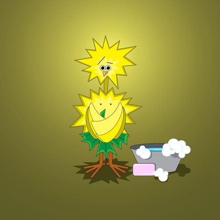 coward: Illustration of funky chicken in the bath