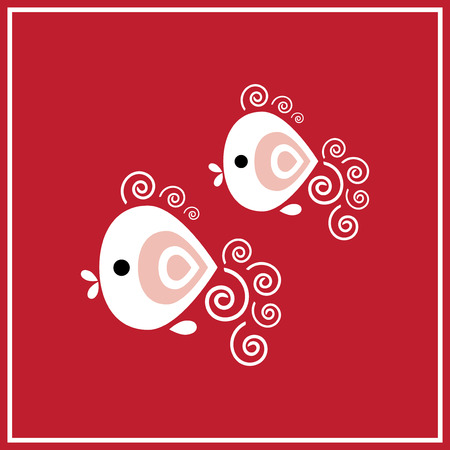 Illustration of zodiac sign Pisces - two fish on the red background Vector
