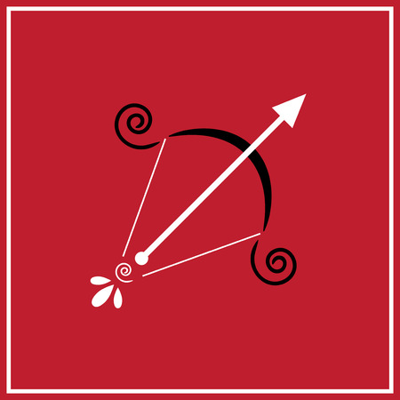 Illustration of zodiac sign Sagittarius - arrow with a bow on the red background Vector