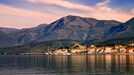 The coastal town of St Florent in northern Corsica