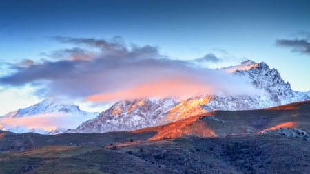 A snow covered Monte Cinto at dawn taken from the Col de San Colombano in northern Corsica at sunrise