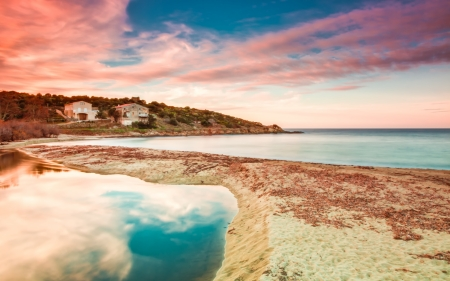 joins: The Reginu river joins the mediterranean at Losari beach in Balagne region of Corsica Stock Photo