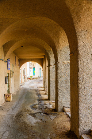 vaulted: The arches with vaulted ceilings near the beach at Algajola in the Balagne region of Corsica
