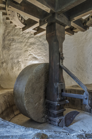 millstone: The mill wheel and workings of an olive mill in the balagne region of Corsica