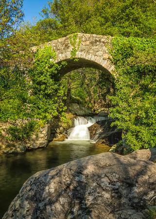 genoese: Ancient Genoese bridge, stream and cascade near Feliceto in the Balagne region of Corsica Stock Photo