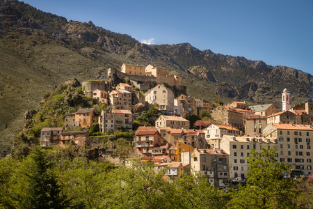 The citadel and town of Corte in Corsica