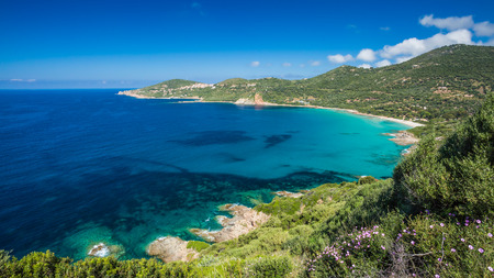 View of the beach and coastline at Cargese on the west coast of Corsica Stock Photo