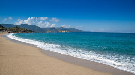 A pristine and empty sandy beach at Sagone in Corsica Stock Photo