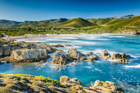 The coast of the Desert des Agriates and Ostriconi beach in north Corsica Stock Photo