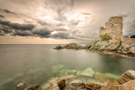 genoese: Genoese tower against a dramatic sky at Erbalunga on Cap Corse in northern Corsica