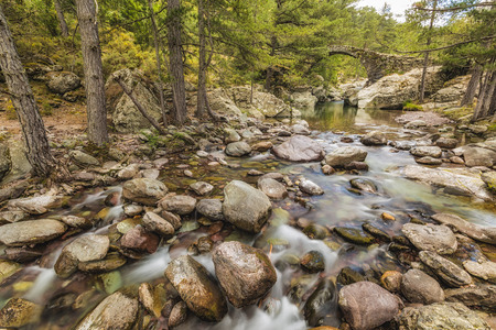 parc naturel: The clear mountain waters of the Tartagine river flow under an ancient Genoese bridge in the Tartagine forest near Mausoléo in the Balagne region of Corsica Stock Photo