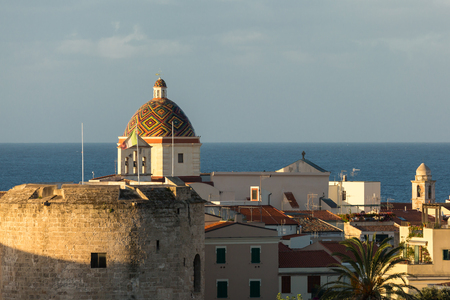 san michele: Dome of Chiesa San Michele in the ancient city of Alghero on the west coast of Sardinia Stock Photo