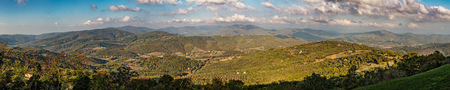 panoramic sky: Panoramic view of the Umbrian hills taken from the village of Preggio in Italy