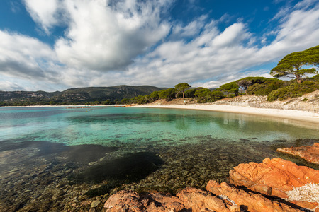 Rocks jutting out into a calm, crystal clear, mediterranean sea at Palombaggia beach in Corsica