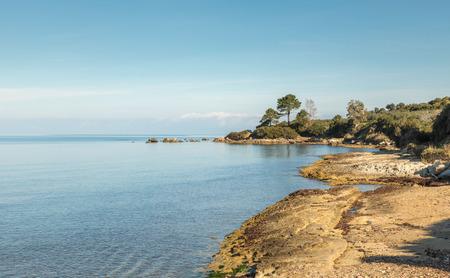 Coastline of Corsica with calm blue Mediterranean sea near Saint Florent in Corsica with clear blue sky Stock Photo