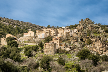 telegraph hill: Ancient houses and church in the village of Mausoleo in the Balagne region of Corsica
