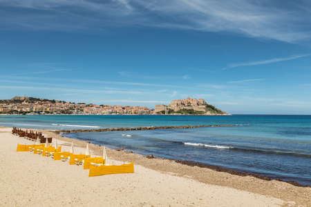 Citadel of Calvi in the Balagne region of Corsica with a line of yellow and  brown 491ba42f13d