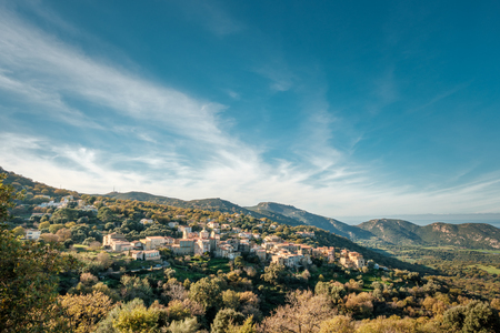 The ancient mountain village of Cateri lit by the evening sun in the Balagne region of Corsica