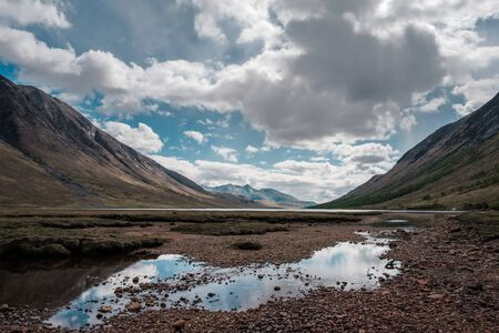 Sky reflected in a pool of water in front of Loch Etive in the Highlands of Scotland