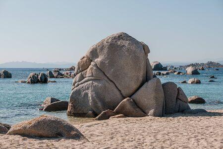 Large granite boulders on the coast of Cavallo Island n the Lavezzi archipelago of Corsica