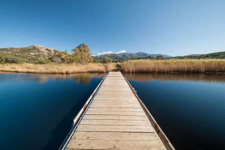 A floating wooden pontoon bridge crosses the Etang de Foce lake at Ostriconi in the Balagne region of Corsica with the reeds reflected in the still water