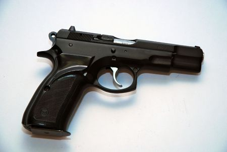 this is a close up shot of a semi-automatic pistol Stock Photo