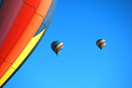 this is a shot of hot air balloons