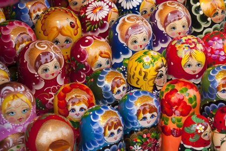 Babushka Dolls sold in a market in poland Stock Photo - 9922376