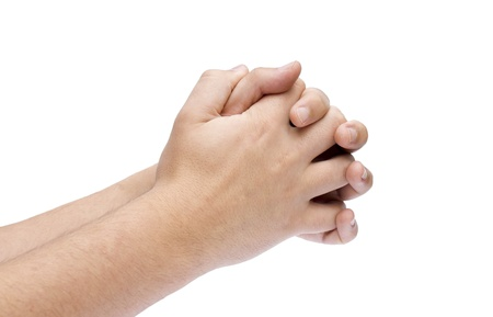 Hands Clasped in Prayer isolated on White Stock Photo - 9819810