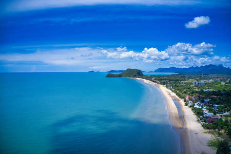 This unique photo shows the beach at Pak Nam Pran in Thailand photographed from above. You can see the sea and a mountain formation in the background Reklamní fotografie