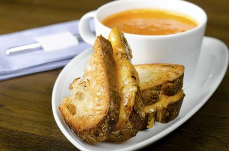 Sandwich and cream of pumpkin soup