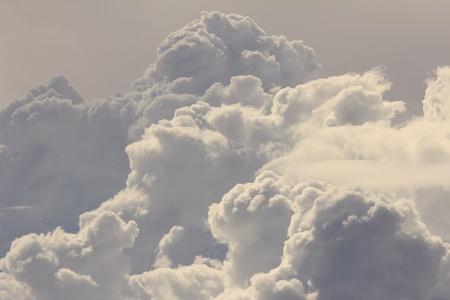 Billowing cumulus clouds.