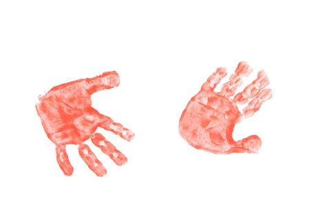 color kinder hands on the white paper Stock Photo - 2079500