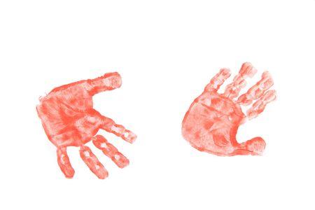 kinder: color kinder hands on the white paper