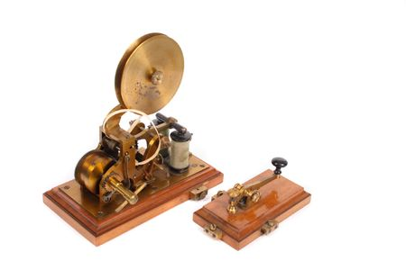 telegraphic communication: very old telegraph on the white background Stock Photo
