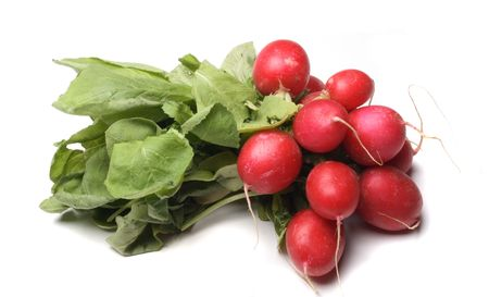 pungent: bunch of radishes on the white background Stock Photo