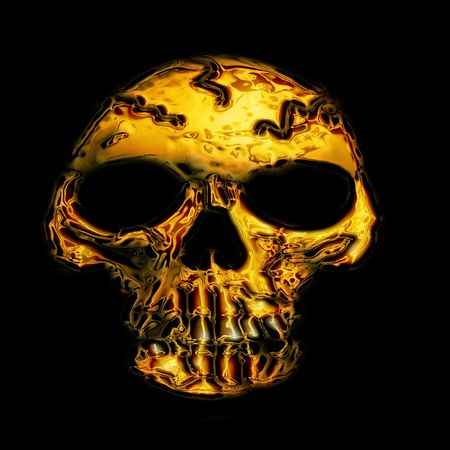 educating: golden skull bone on the black background Stock Photo