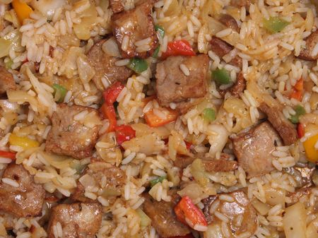 chinesse: chinesse food background with meat vegetable and rice