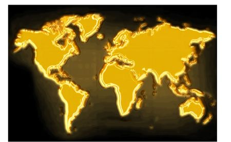 euro area: golden map on the black generated by the computer