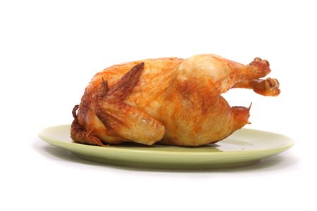 chicken on the green plate on the white background Stock Photo - 2746708