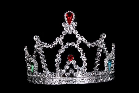 daydreaming: nice silver crown on the black background Stock Photo