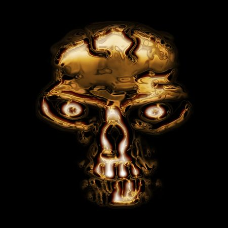 horrific: nice golden skull generated by the computer