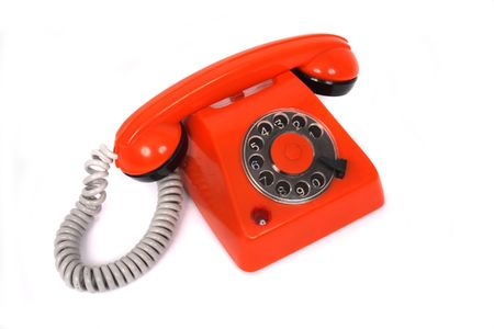 converse: orange plastic phone on the white background