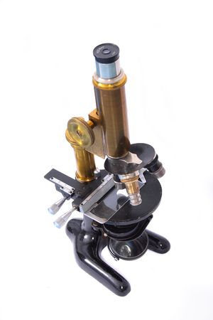 very old microscope on the white background Stock Photo - 3647066