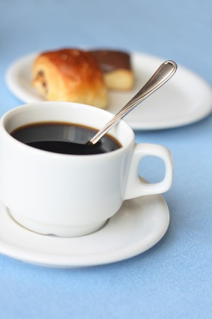 cofee cup: fresh cup of cofee and sweet deserts  Stock Photo