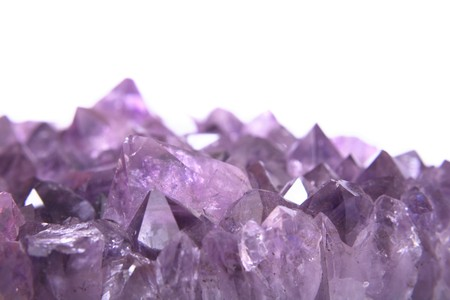 quartz crystal: real amethyst background from the czech republic Stock Photo