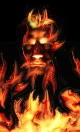 red evil in the real fire background  photo