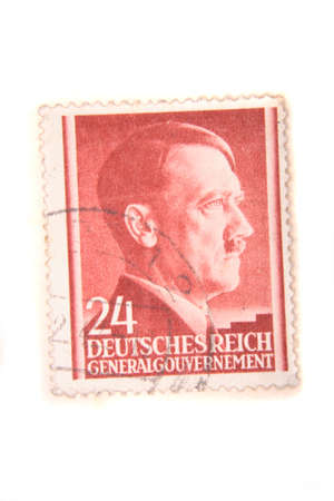 adolf hitler on the red postage stamp on the white background