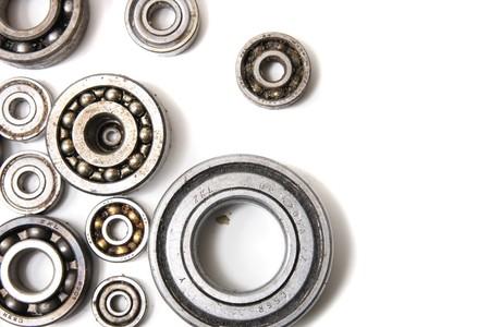 steel bearing background on the white background  photo